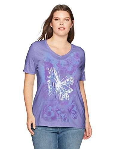 aafc43e6365 Just My Size Women s Plus Printed Short-Sleeve V-Neck T-Shirt