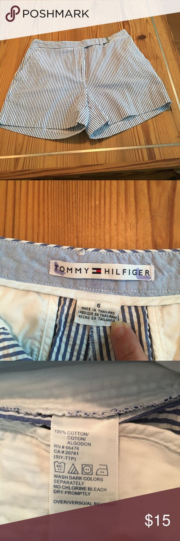 Tommy Hilfiger stripe shorts. Size 6(runs small) QAdorable Tommy Hilfiger seersucker shorts.  Label says size 6, fits like size 2.  Waist measure 14 1/2. Great condition. No stains, tears or visible wear. Label marked with initials. See photo. Tommy Hilfiger Shorts