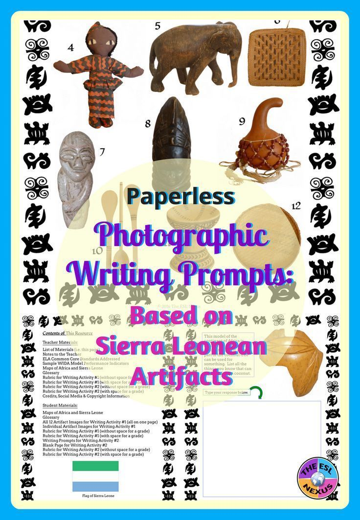 Bring some African culture into your classroom with this digital resource! Includes  differentiated writing prompts based on photographs of 12 artifacts from Sierra Leone, West Africa, and supplemental materials. #SierraLeone #WritingPrompts #BlackHistoryMonth #AfricanStudies