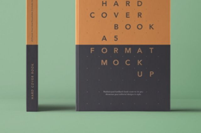 This is the front and side spine A5 psd hardcover book mockup. Easily add your own graphics with the smart layer...