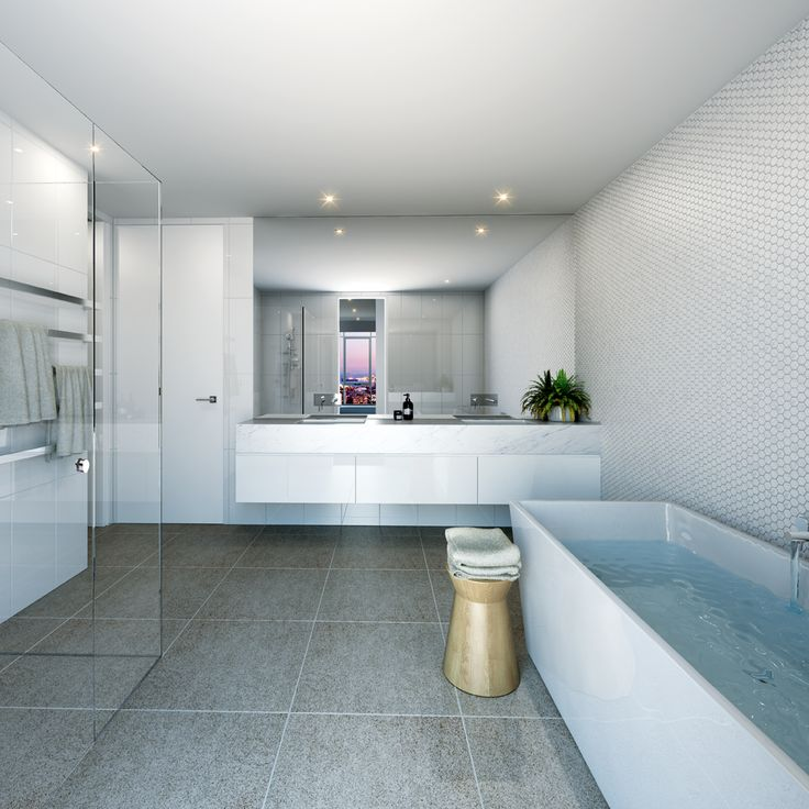 Melbourne One penthouse: Stylish bathrooms include marble vanity tops, frameless shower screens, heated towel rails and german tap ware.  #melbourneone #melbournepenthouse