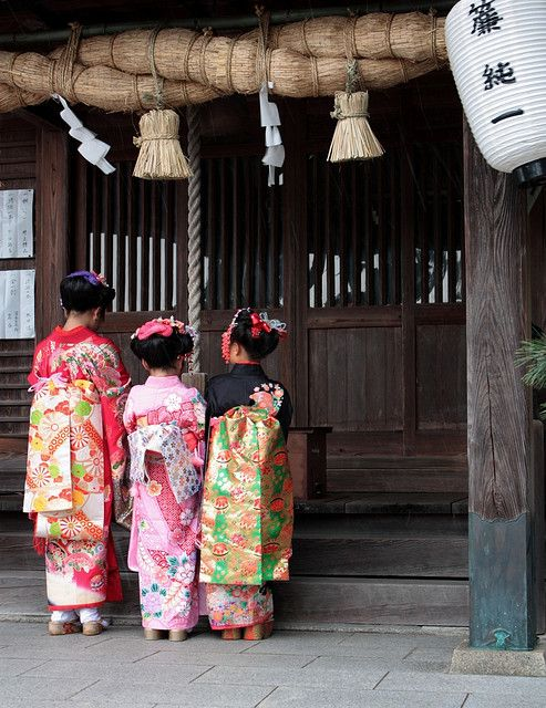 Girls in Japan celebrating Shichi-Go-San, the traditional rite of passage and festival day in Japan for three- and seven-year-old girls and three- and five-year-old boys. Held annually on November 15 to celebrate the growth and well-being of young children. #shichigosan #japantraditions