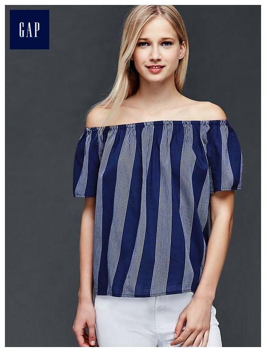 Off-shoulder stripe top