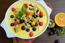Warm custard with fruit, ahhhh please!