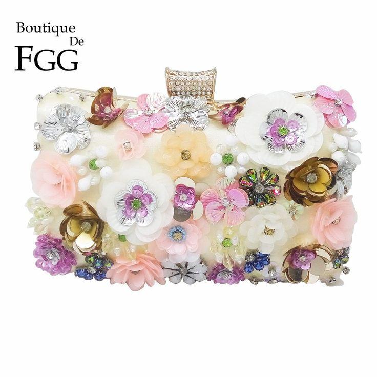 Women Clutch / Evening Bag Multi Flower Bush Crystal Beaded Evening Cl – Premium Luxury Clutches & Purses