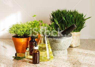 Herbal Medicine Concept with Plants,Beaker and Medicine Bottles Royalty Free Stock Photo