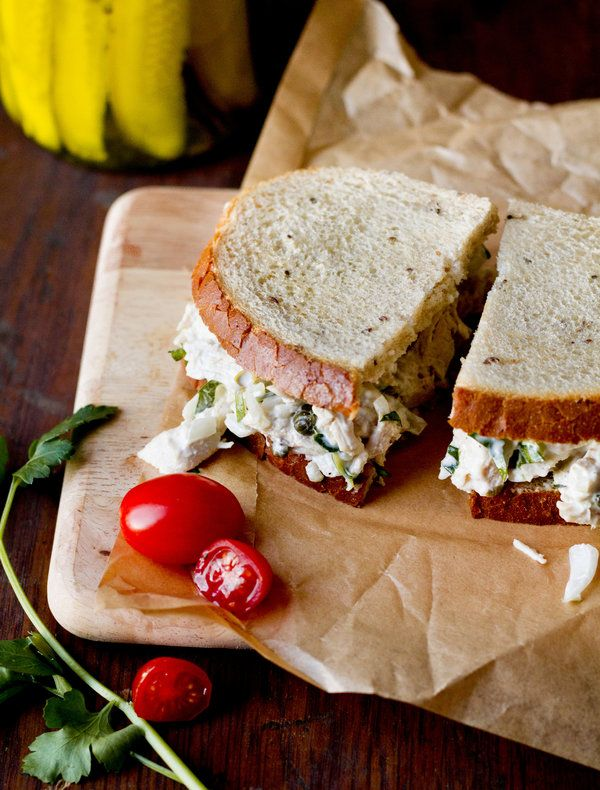 Originally printed in 1981, here is Craig Claiborne's take on the classic chicken salad sandwich. In his version, a combination of mayonnaise (preferably homemade) and yogurt is used which yields a lighter, tangier sandwich filling. He calls for using poached chicken, but the leftover roast chicken from last night would work beautifully as well. (Photo: Rikki Snyder for The New York Times)