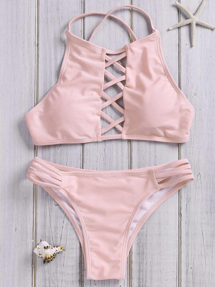 Completo bikini svasato tinta unita allacciato al collo – Rosa – M