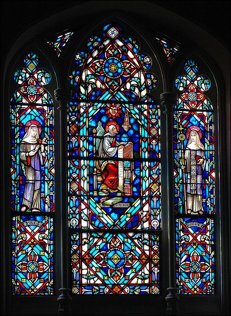 Stained glass at St. Thomas of Villanova Chapel -- Villanova University. via Flickr.