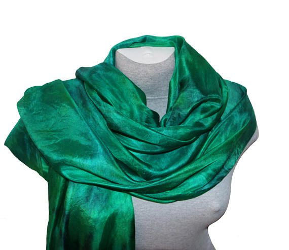 Green Silk Scarf Hand Painted Silk Scarves Hand dyed silk scarf for Ladies Mother Birthday gift Women Scarf Holiday Party Summer Outdoors