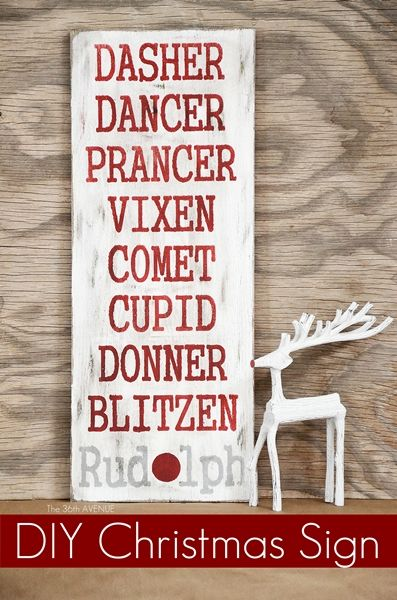 Oh Deer! DIY Christmas Sign: Dasher, Dancer, Prancer, Vixen, Comet, Cupid, Donner, Blitzen and Rudolph tjn