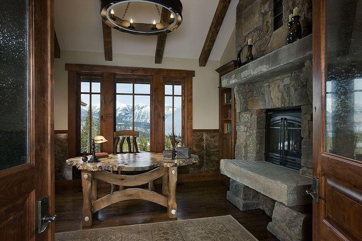 Home Office And Work Space In Our Elk Ridge Lodge Nestled The Mountains Big Sky MT You Can Along Side A Glowing Fireplace After Day Of
