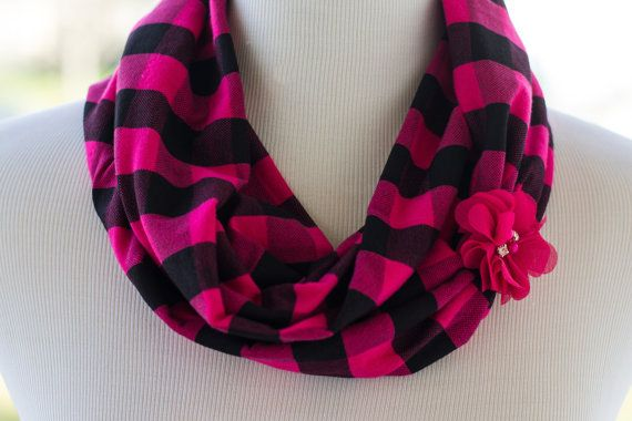 Plaid Infinity Scarf in Hot Pink and Black - Jersey knit soft fabric makes this infinity scarf super comfy for all ages. With an accent pink flower for some sparkle. Fun for mommy and me matching sets, newborn photography prop, or everyday casual wear! Just what every little lady needs!  ------------------------------------------------------------------------------------------------------------------------------  Thanks for visiting my shop, I take great pride in creating high quality…
