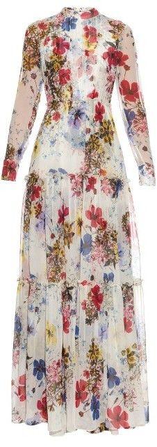 ERDEM Long-sleeved Carmel Flora-print silk-chiffon gown