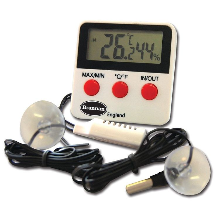 Thermometer Hygrometer which measures indoor and outdoor temperatures and humidity from where the probe is located. This thermometer hygrometer also includes a max min temperature and humidity feature.