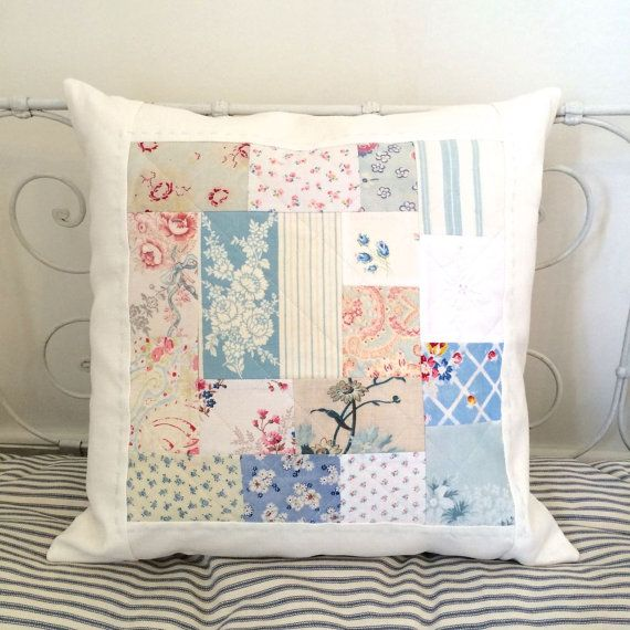 Baby Blues Patchwork Cushion Cover by HenHouseHomemade on Etsy