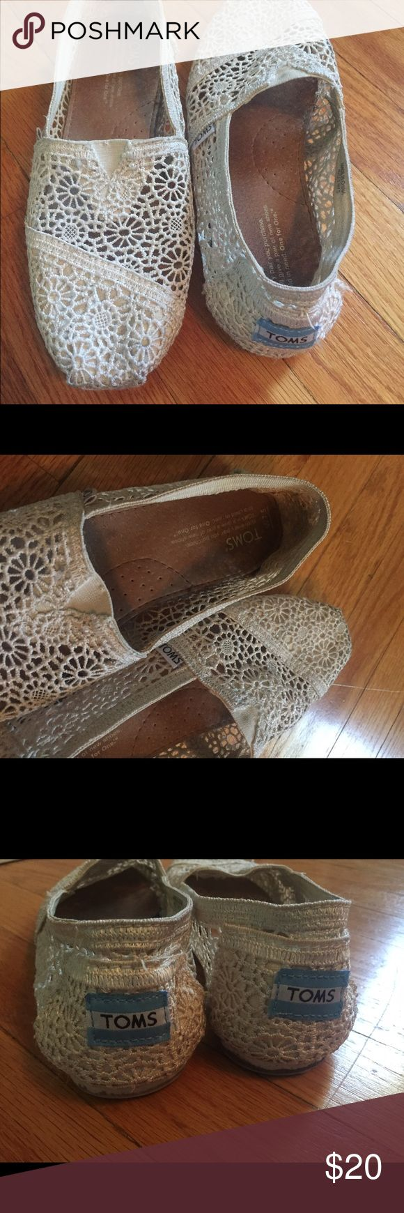 Cream lace Toms Adorable lace toms! Cream/off white color. Used but in great shape. TOMS Shoes