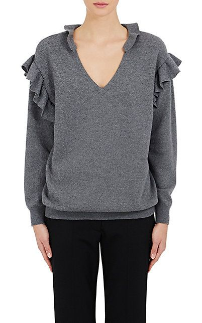 Stella McCartney Wool Ruffle V-Neck Sweater - Sweaters - 504745649