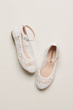 A sweet shoe option for flower girls, these crochet ballet flats feature sweet illusion lace and an adjustable ankle strap.  Fully Lined  Flat heel  Toddler sizes: 8,9,10  Youth sizes: 11, 12, 13, 1, 2, 3, 4  Imported