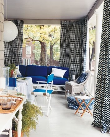 dream porch.  Built in curtain rods vs. outdoor blinds