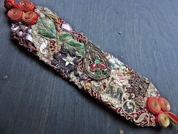 "Fanciful Devices - Textile wrist cuff bracelet with antique fabric trims- ""Tattered Hopes"""