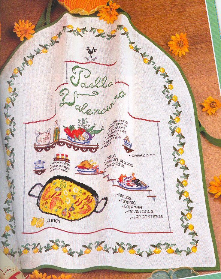 Schema punto croce Paella Valenciana 01