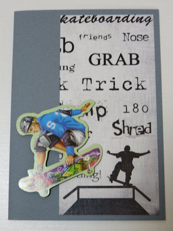 Handmade Greeting Card Skateboarder Magnet by FabulousFuss on Etsy