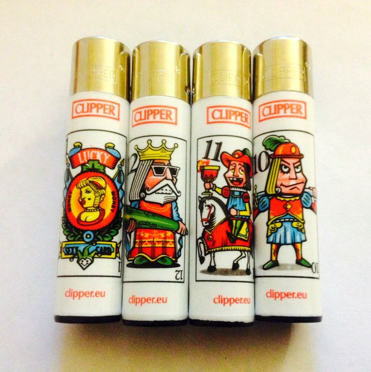 4 x CLIPPER GENUINE  PLAYING CARD FUN CHARACTER DESIGN  GAS REFILLABLE LIGHTER