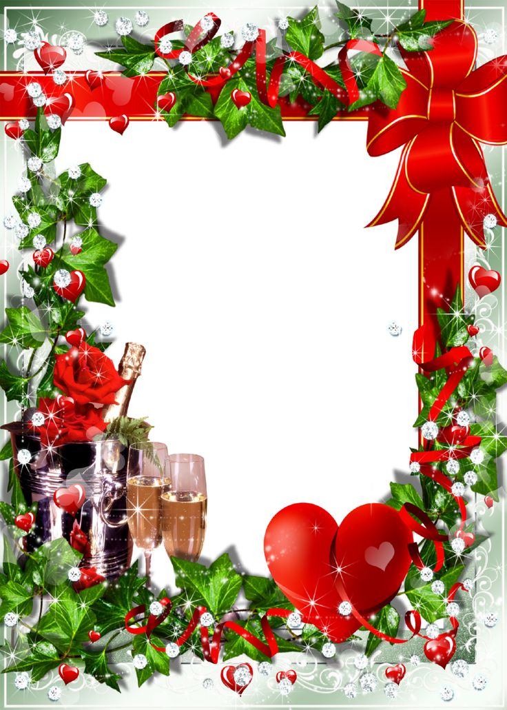 christmas transparent png borders and frames romantic photo frame with champagne