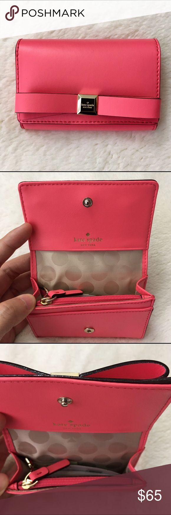 """SALE ❤️ Cute Kate Spade card case Super adorable ❤️ shell: 100% cow leather ❤️ """"flamingo"""" color ❤️ a zipper compartment for coins ❤️ a slot for ID in the back ❤️ two small card slots beside the main pocket ❤️ key ring for convenience 😍😘 kate spade Accessories Key & Card Holders"""