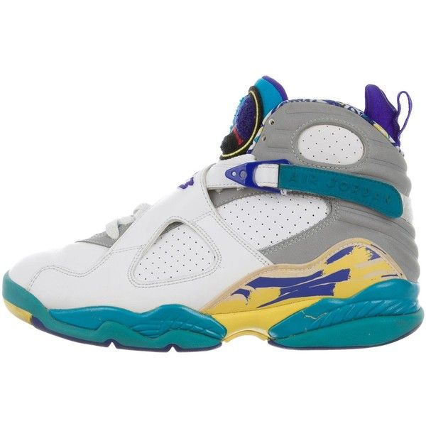 Pre-owned Nike Air Jordan Retro 8 High-Top Sneakers ($200) ❤ liked on Polyvore featuring shoes, sneakers, white, retro sneakers, nike sneakers, colorful sneakers, white shoes and white sneakers