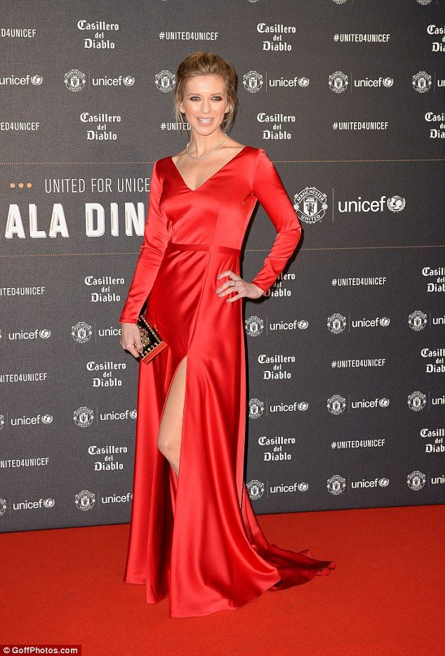 Belle of the ball: Rachel Riley was a guest of honour at the team's annual United for Unicef Gala Dinner, leading a host of famous sportsmen and their glamorous partners at Old Trafford on Wednesday night.