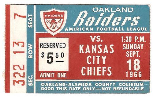 Raiders vs. Chiefs - ticket - 1966