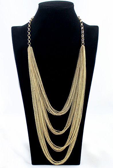 Fashion Jewelry Bold Design Multi-Layers Waterfall Gold Tassel Necklace