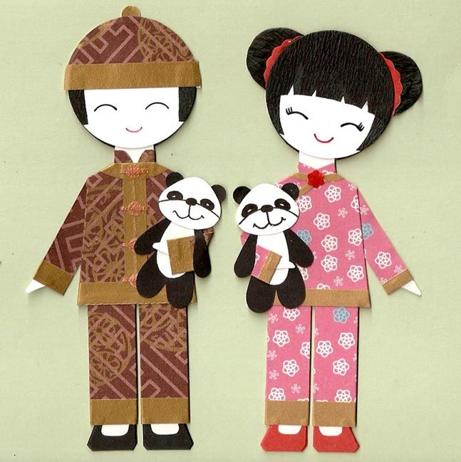 Niñas con vestido típico chino