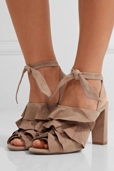 Heel measures approximately 90mm/ 3.5 inches Taupe suede Ties at ankle Designer color: Cameo Made in Italy