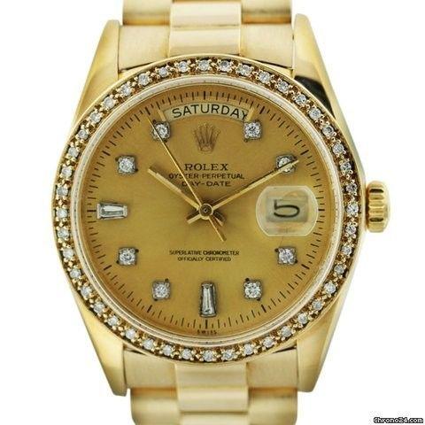 Rolex Presidential 18038 Single Quickset Gold Mens Watch