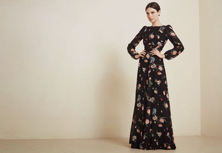 Modest long sleeve floral maxi dress. Follow Mode-sty to see and buy the most beautiful modest fashion. www.mode-sty.com