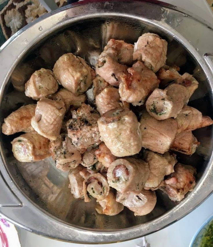 Сочные шашлык - рулеты из свинины с ароматным маслом