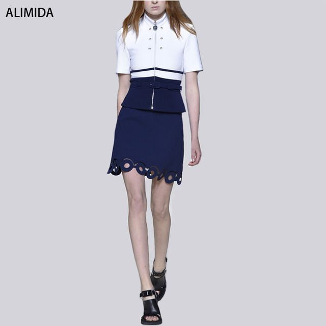 ALIMIDA038 2016 RUNWAY Set Women's High Quality Short Sleeve Stand-Neck White&Blue Patchwork Blouse + Blue Lace Skirt US $53.99 Specifics Style	Casual Gender	Women Decoration	Lace,Sashes,Zip Sleeve Style	Bell Closure Type	Zipper Material	Cotton,Polyester Pant Closure Type	Zipper Fly Collar	Button Up Collar Sleeve Length	Short Brand Name	None  Click to Buy :http://goo.gl/t9O329