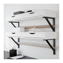 IKEA - EKBY ALEX / EKBY VALTER, Shelf with drawer, white/black, , Drawer stops prevent the drawers from being pulled out too far.