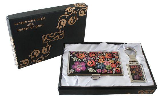 Nacre Mother of pearl Business card holder key ring holder gift sets, business card case keychain present box arabesque & flower design#23