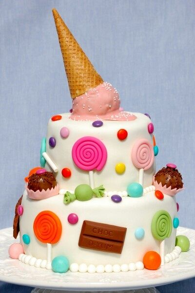 chocolate cake, chocolate filling.  Name written in fondant, Lollipop on top instead of ice cream, a few little pieces of taffy/candy