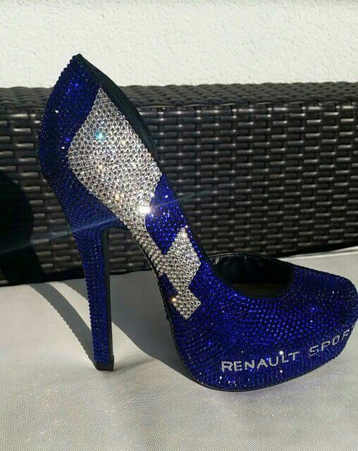 Renault Sport High Heels with Swarovski elements made by crystallized-finishings.ch
