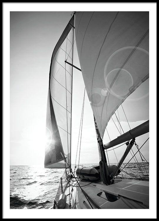 Poster met zwart-wit foto van zeilboot