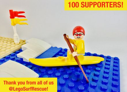 Nic on the surf ski to celebrate 100 supporters! Vote for a #SunSmart #Lego set starring heroes wearing sunscreen at http://bit/ly/legosurfrescue. #Legoideas #Melanoma #SkinCancer #Cancer #Australia #SurfLifeSaving