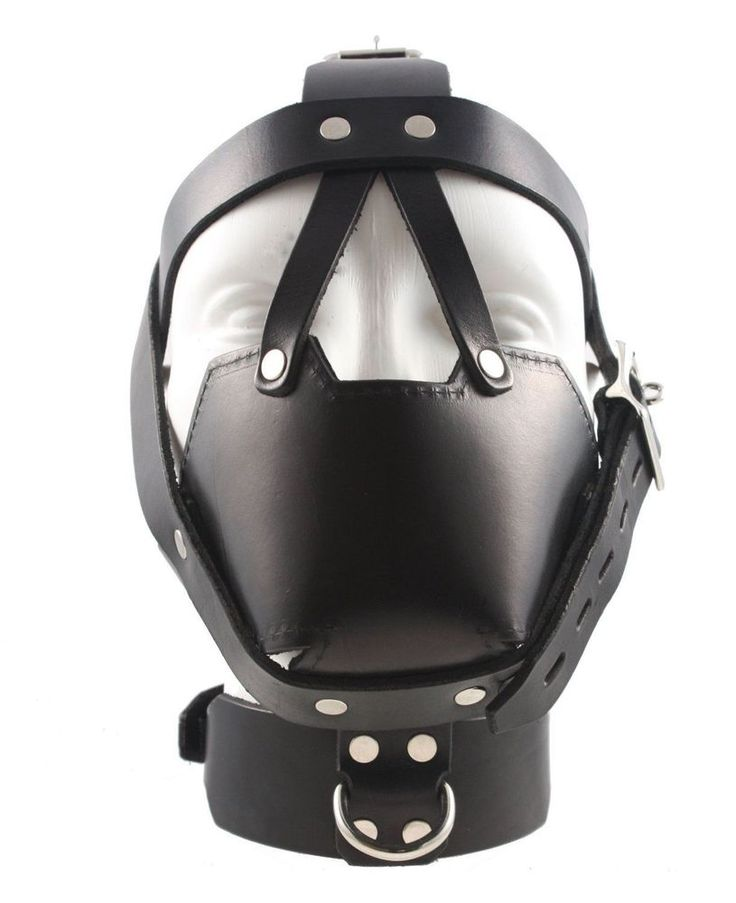 Black Lacing Leather Neck Corset Head Harness Posture Collar Muzzle Restraint  #PGS