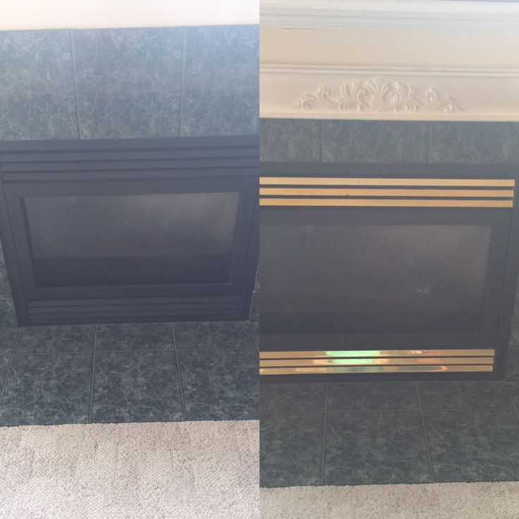 Start of fireplace refresh! Used Rustoleum high heat spray paint on brass. Next up new tile!
