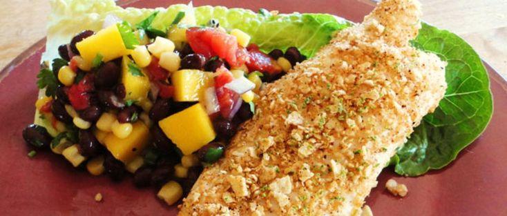 Tortilla Encrusted Tilapia with Mango, Kiwi, and Black Bean Salad
