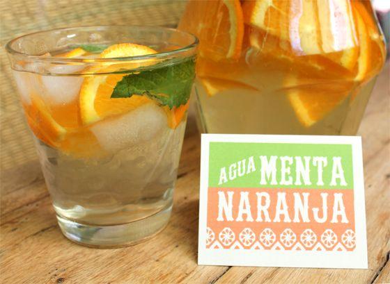 agua menta naranja non alcoholic party drinks free printable